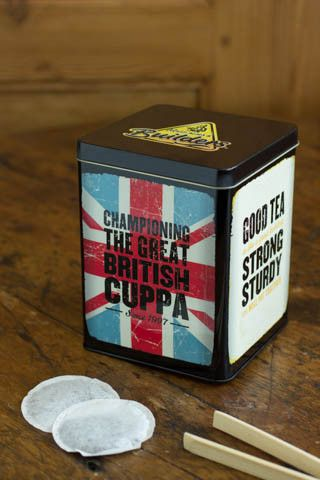 Builders Tea tea tin ... 'Championing the Great British Cuppa' slogan printed over Union Jack flag on one side, 'Good Tea ... Sturdy Strong' on another, UK