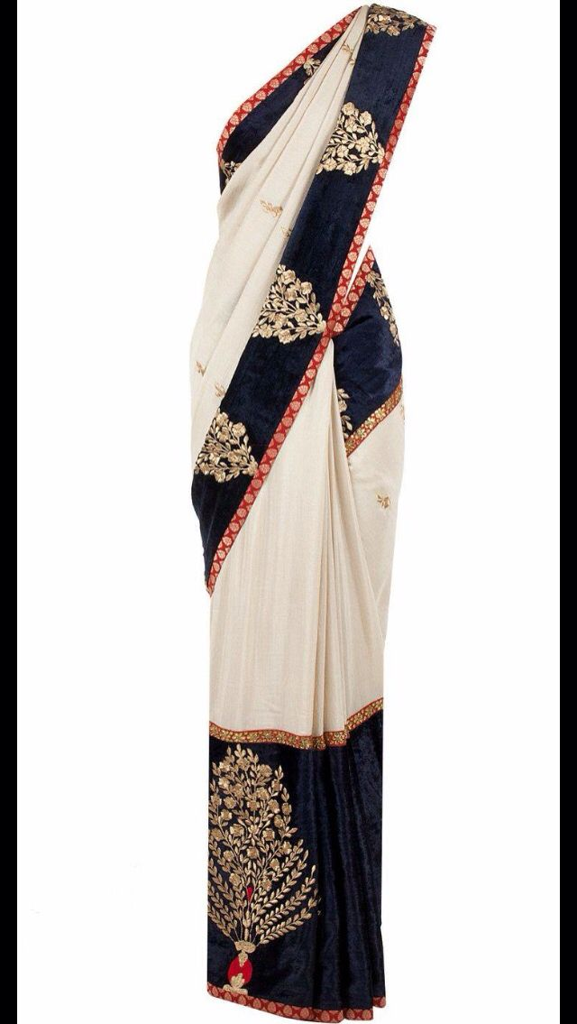 Beautiful white saree with blue boarder