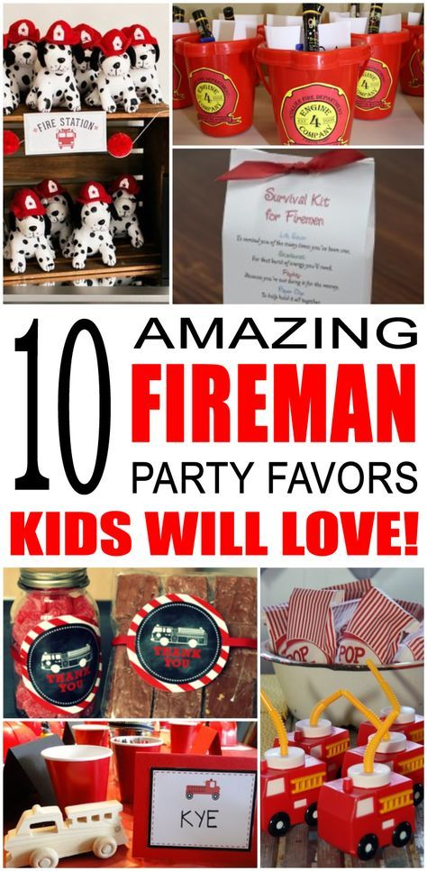 Fun fireman party favor ideas that kids and teens will love. Try these simple diy firemen, fire truck and firefighters party favors for boys and girls. Here are some easy gift bags, treat bags, and more birthday ideas to say thank you to the friends of that special birthday child.