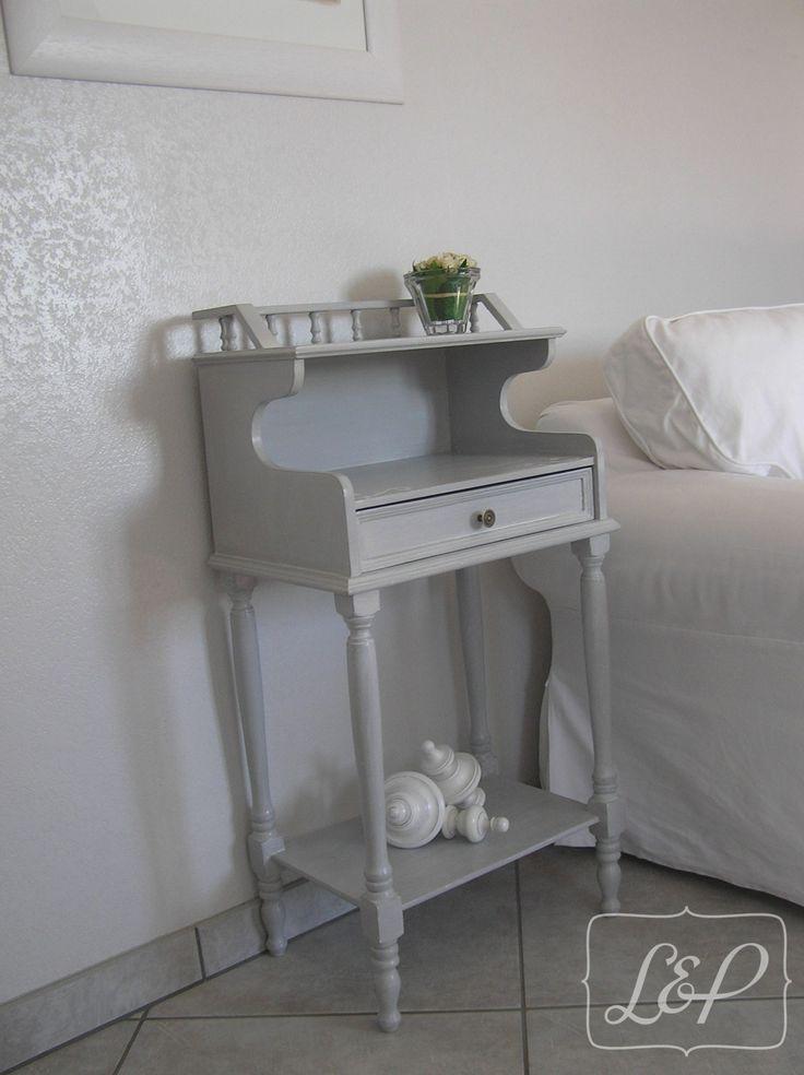 meuble d'appoint patiné gris gustavien réalisé sur commande : Meubles et rangements par lin-et-patine