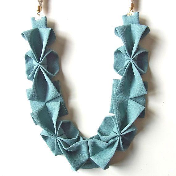 Origami Hana Rope Necklace Seafoam Green by HOMAKO on Etsy