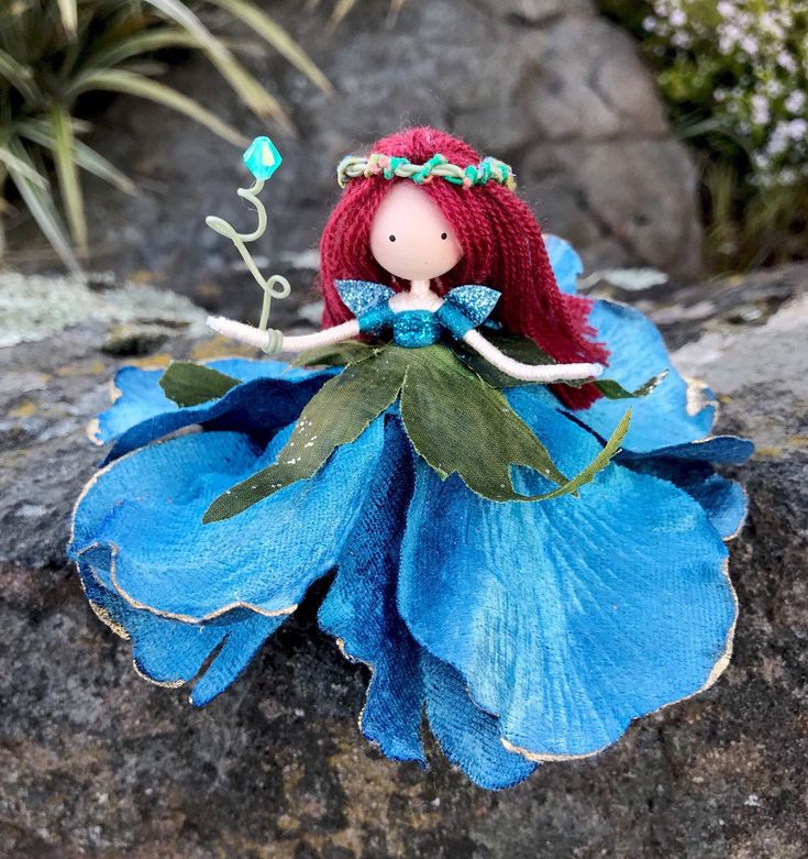 Excited to share the latest addition to my #etsy shop: Blue Red Flower Fairy Doll, Handmade Fairy Princess Bendy Doll, Fairy Gift Ideas, Miniature Princess Doll, Nature Lover Gift, Fairy Doll