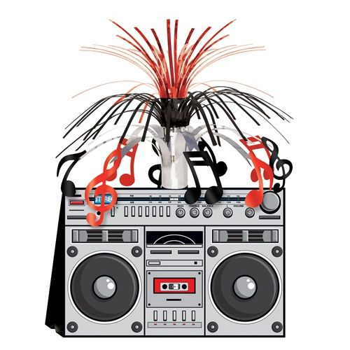 "A perfect centerpiece decoration for your 80s theme party, check out our Awesome 80s Boom Box Centerpiece.  It stands 14"" tall, features a pop-up ghetto blaster-style base, with musical note cutouts encircling the centerpiece, and black and red foil spray shooting out of the top.  1 per package."