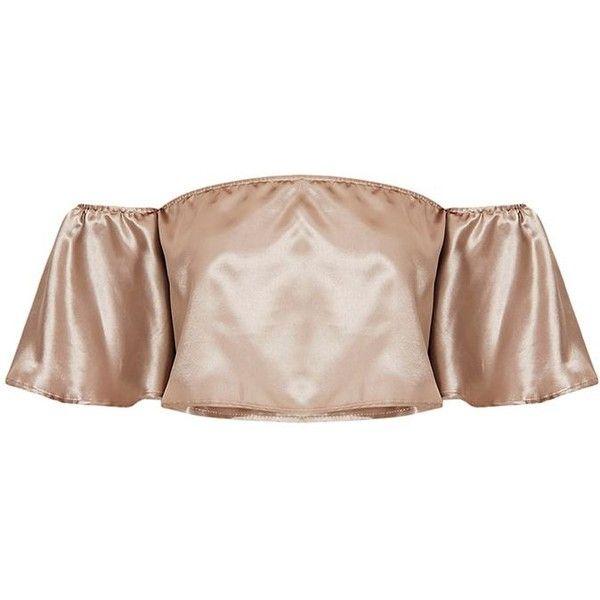 Nori Metallic Satin Bardot Crop Top (275 ZAR) ❤ liked on Polyvore featuring tops, pink crop top, cut-out crop tops, metallic top, cropped tops and pink top
