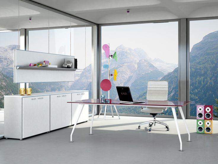 Desk with metallic legs and glazed Prune top with low cupboard and suspended panel finish White  //  ---  //  Scrivania con gambe in metallo e piano in cristallo Prugna con mobile contenitore e pannello sospeso finitura Bianco
