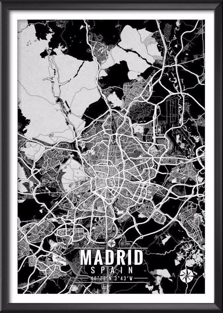 "Madrid Spain Map with Coordinates _______________________________ - Print size available in: 13"" x 19"", 12"" x 18"", 11"" x 14"", 8"" x 10"", 6"" x 8"", or 5"" x 7"". Example shown is 13"" x 19"". - Printed onto"