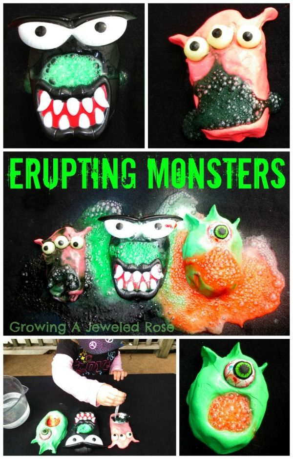 Erupting monsters- a super fun way to explore with baking soda and vinegar!