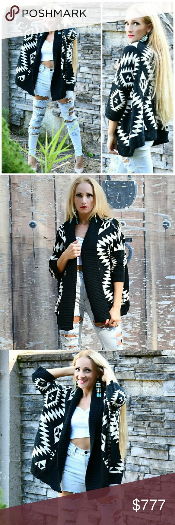 COMFY CARDIGAN Brand new with tag Boutique item  Fabulous open front knit cardigan featuring a fun print! Perfect for the season! Material 100% acrylic . Sweaters