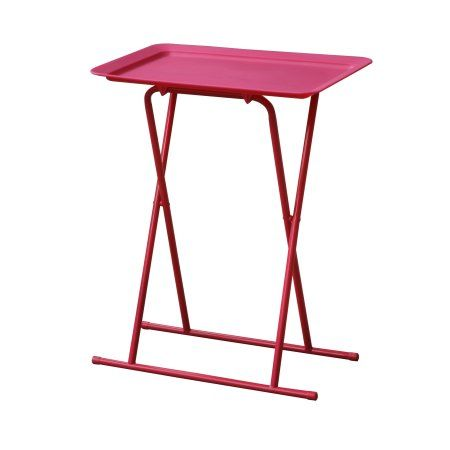 Home Source Folding Snack Table with Plastic Tray, set of 6 tables, Pink