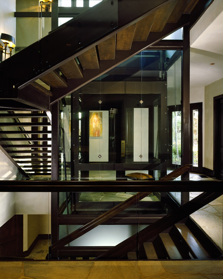 Stunning Staircase And Elevator Design Ideas: Aspen Manor Glass Elevator With Staircase Wrap Around By
