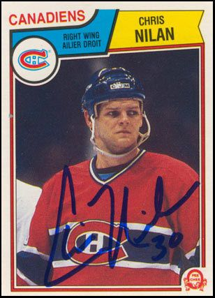 1983-OPC-Chris-Nilan-Autographed-Rookie-Card-Montreal-Canadiens