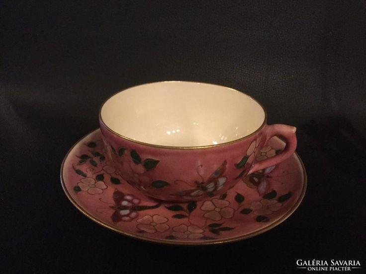 Zsolbay teás csésze  tányérral,1880-as évekből