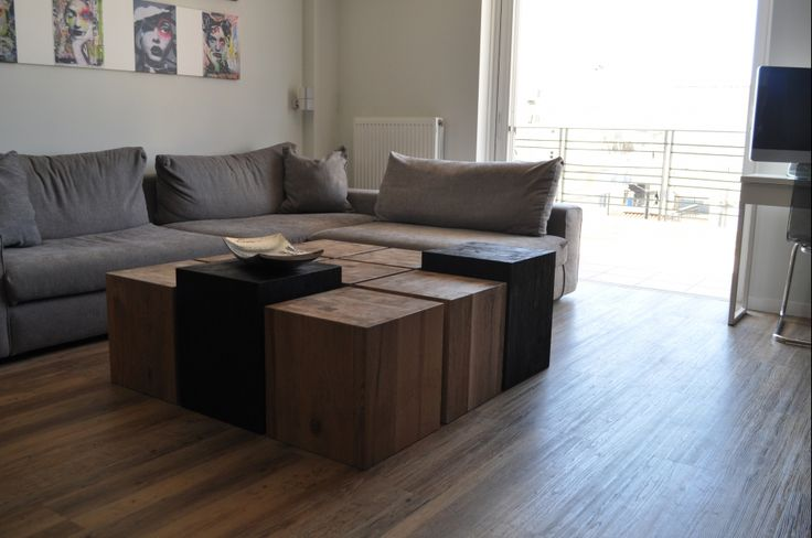 Custom made coffee table, solid wood, oak, side table, stools, modular, Greek interior design, wooden cubes