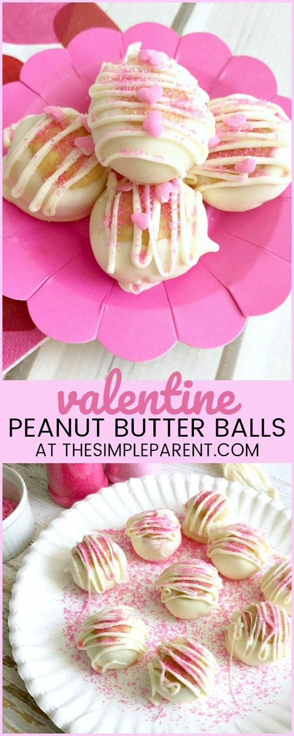 Valentine Peanut Butter Buckeyes - My kids love getting the kitchen with me. These easy peanut butter cookies are a no bake recipe which means the whole family can help! I love our tip for making these feel more like Valentine's Day treats than the traditional recipe!
