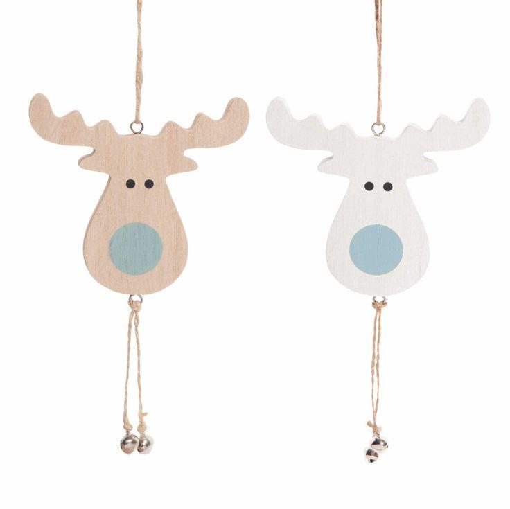 Decoraciones navideñas de ciervos de madera para colgar NATURE   - Vendido por 12