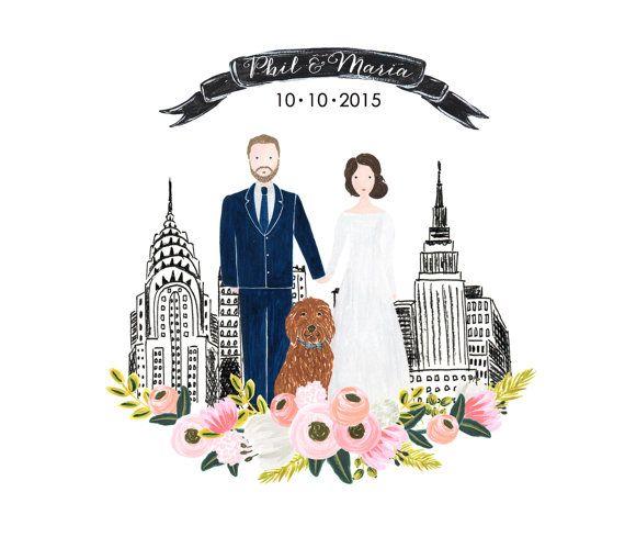 Wedding Guest Book Sign, Custom Couple Portrait Illustration, Couple Wedding Illustration, Hand painted watercolor, Wedding Anniversary Gift