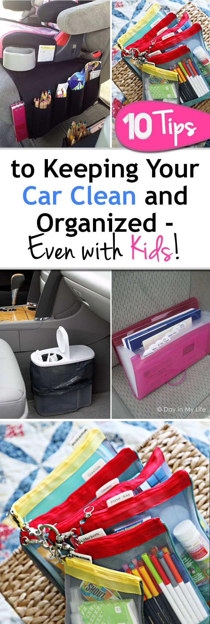 10 Tips to Keeping Your Car Clean and Organized- Even with Kids!! If your car looks anything like mine, it's just piles of random stuff that make perfect sense to me, but definitely look messy. In an effort to motivate myself to clean the car I've organized a list of 10 ways to keep your car organized and clean- even if you throw kids in the mix!