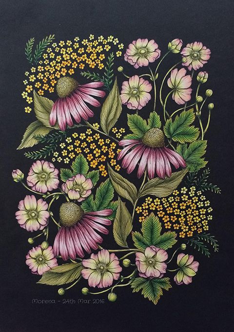 Love the drama added with dark background. Texture flowers.  --Blomster Mandala Coloring Book