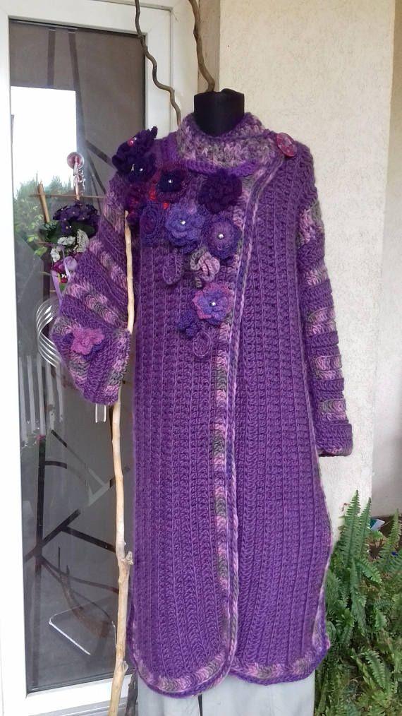 Crochet Coat/Purple Wool Women Coat /Wool 3/4 Cardigan/Sweater