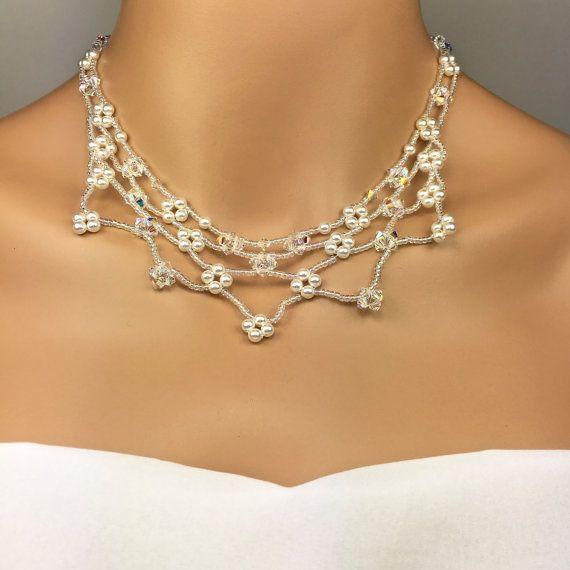 Floral Bridal Jewelry Set Beaded Necklace Floral Wedding Jewelry Statement Necklace Swarovski Pearl Swarovski Crystal Lacy Necklace Kate