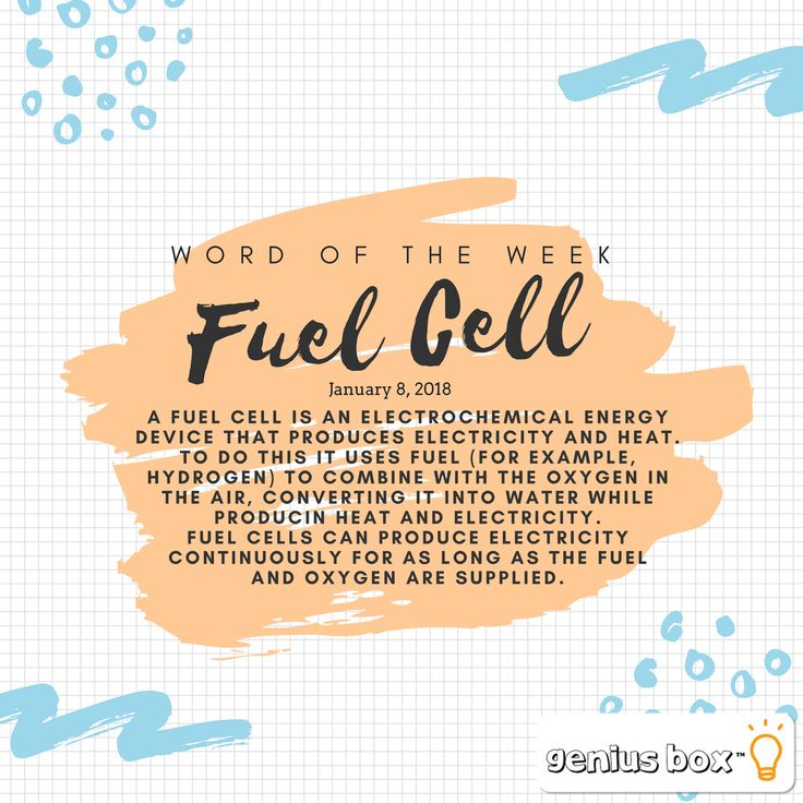 """Word of the Week💡 """"Fuel Cell""""  Today, the energy required to make hydrogen can be supplied by wind, solar power, biomass and even gas from landfills and wastewater treatment plants. These are known as renewable fuels. Hydrogen made from these renewable fuels is a clean and abundant energy source. When used in a fuel cell, the only emission created is water - no burning or combustion therefore no pollutants! 💦  #wordoftheweek #science #vocabulary"""