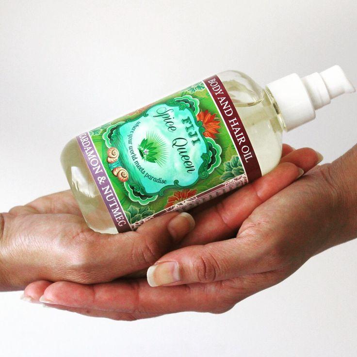 Body & Hair Oil Cardamon & Nutmeg the Fiji Spice Queen's treasure of #Organic #Fijian #Coconut oil, Macadamia, Avocado, Moringa, Dilo & Papaya Seed Oils. Made in Fiji