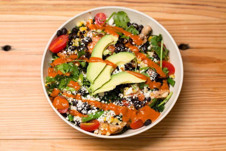 b.good's Spicy Avocado & Lime bowl - a more than hearty portion of organic quinoa, kale, sautéed veggies, shiitakes, avocado, black beans, corn, grape tomato, queso fresco, lime, cilantro, chipotle sauce