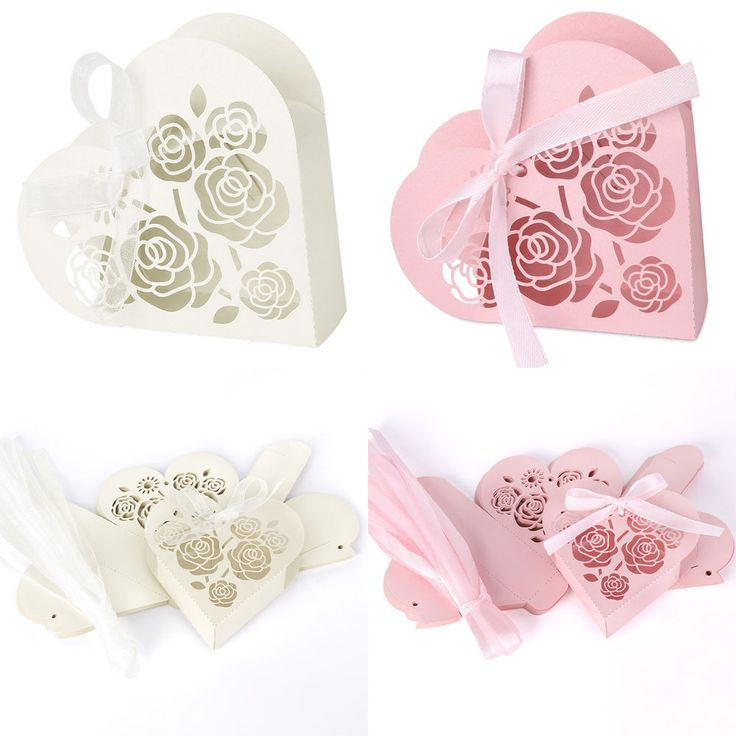 Lots Love Heart Laser Cut Gift Candy Boxes With Ribbon Wedding Party Favor Boxes