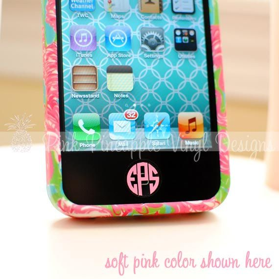 Set of Four - iPhone / iPad Home Button Custom Monogram Decals. $3.50, via Etsy. - hot pink with all three initials!