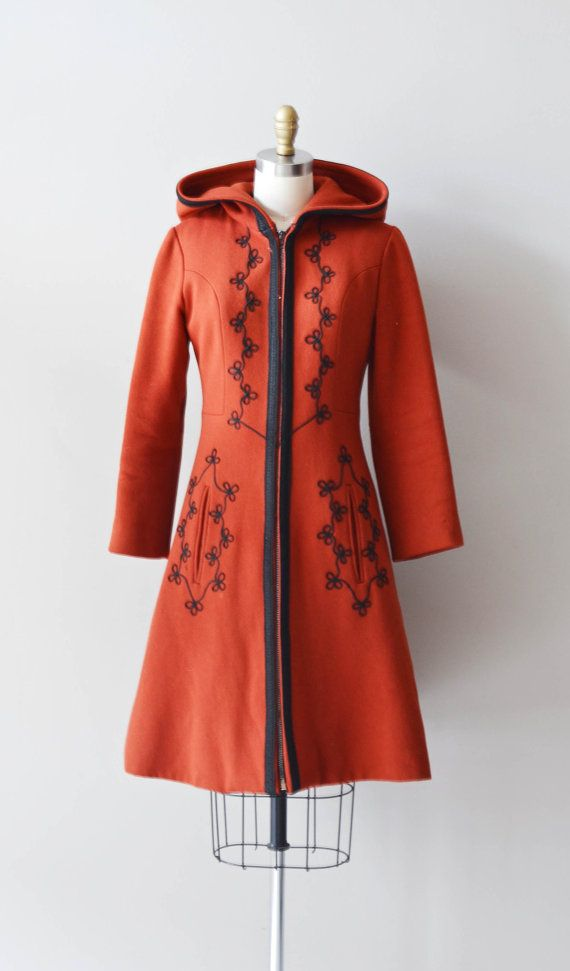 Volga wool coat / 70s red wool coat / 1970s russian by DearGolden, $168.00