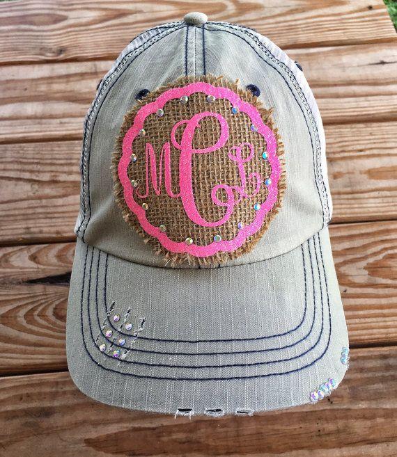 Monograma y arpillera tapón camionero sombrero gorras de