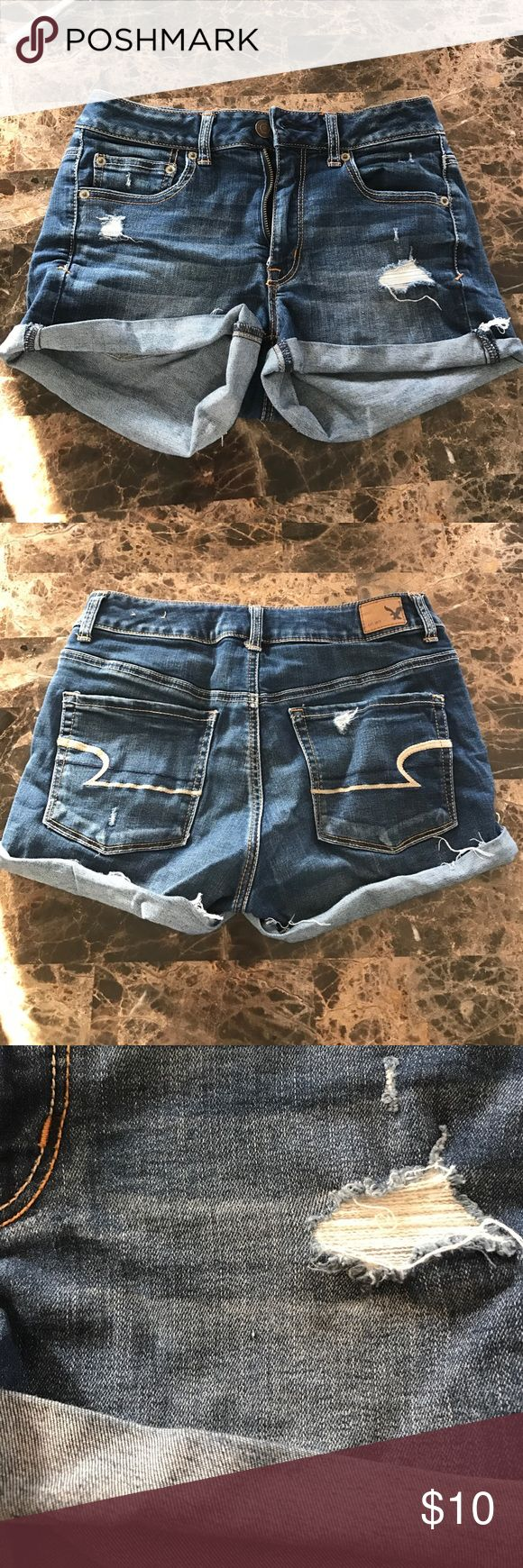 "American Eagle distressed jean shorts In great condition. Comes from a smoke free house. One little ""snag"" as you might call it. See pictures. American Eagle Outfitters Shorts Jean Shorts"