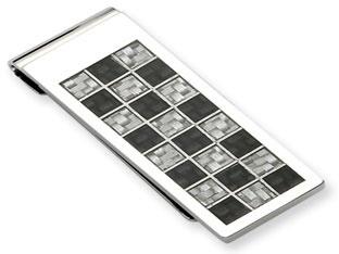 Men's Stainless Steel Black Grey Carbon Fiber Money Clip Holder Available Exclusively at Gemologica.com