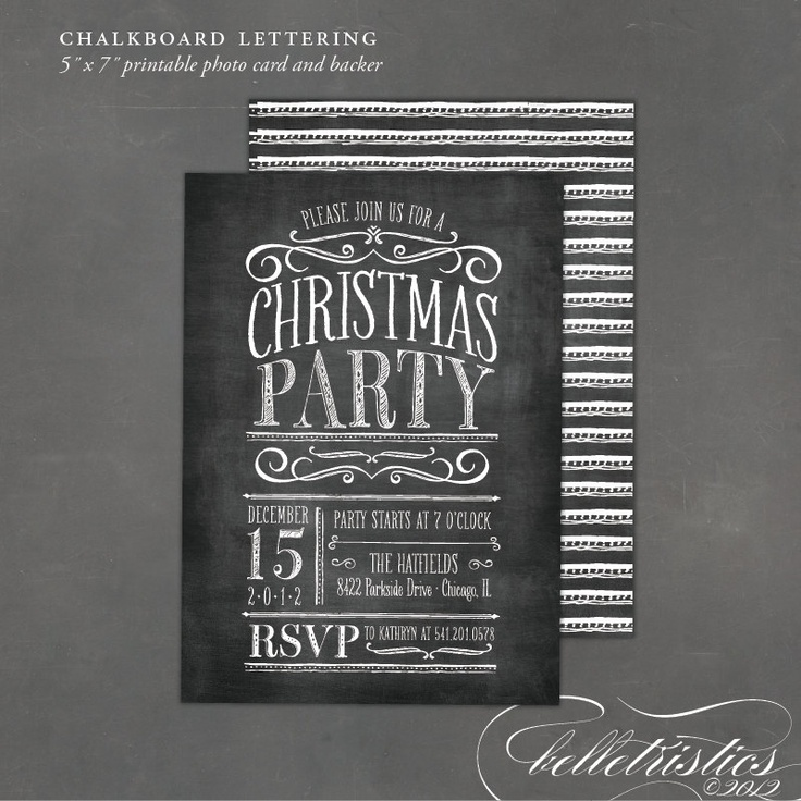Printable Chalkboard Party Invitation- print at home DIY Christmas invite. $18.00, via Etsy.