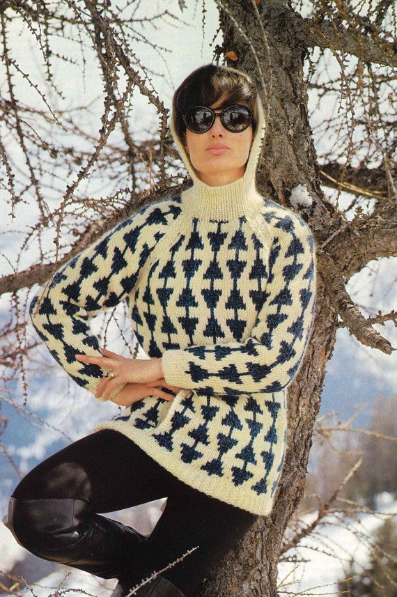 North South Sweater • 1960s Hooded Pullover Pattern • Vintage Fair Isle Ski Skiing Jumper Knitting Patterns • Retro Knit PDF