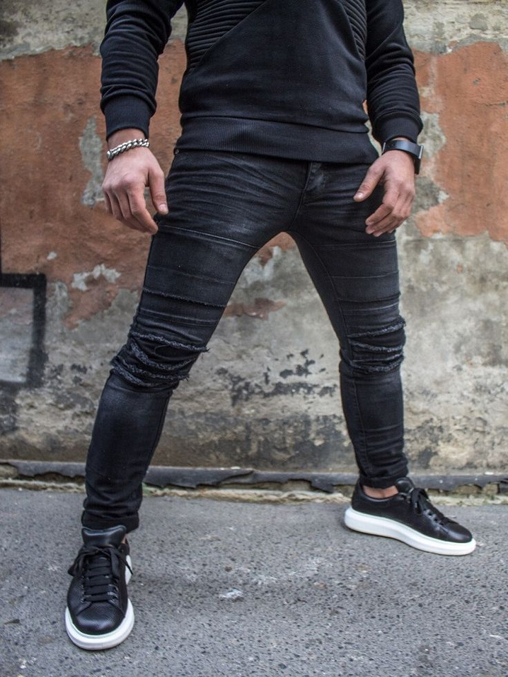 P&V Men Skinny Fit Destroyed Ripped Bars Jeans - Black