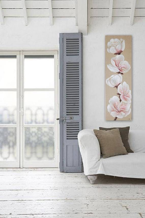 Fleurs de cerisier peint sur lin décoration murale style