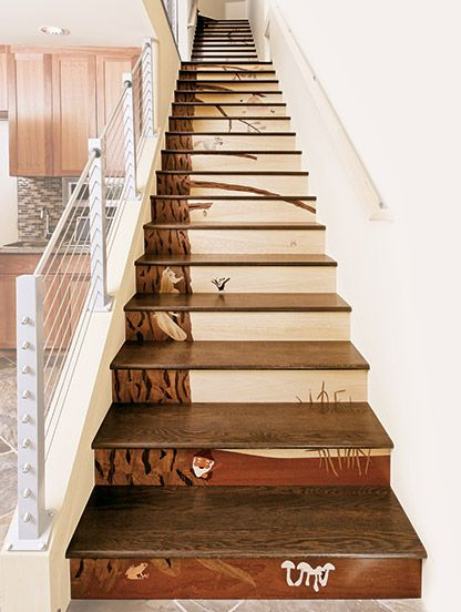 Architectural Stair Riser Wood Inlay Wowza Howdy