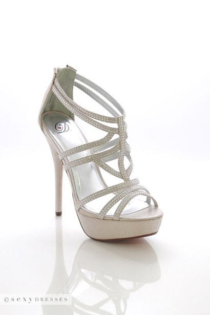 Silver shimmer, high heels, strappy, rhinestones, platform, open-toe, zipper, sandals