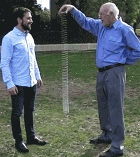 """the-absolute-best-gifs: """"No matter how long the slinky is, the bottom of the slinky will stay still (hover) until the top reaches it. Even if the slinky is over 1000 feet long. Via/Follow The Absolute..."""