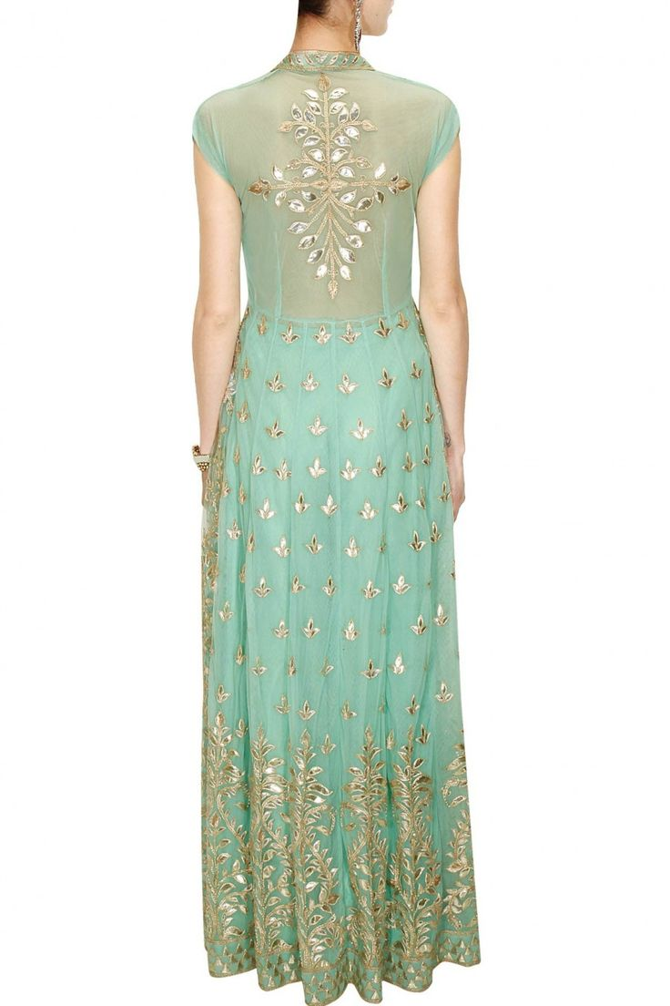 ANITA DONGRE Seafoam gota patti embroidered jacket with sharara pants available only at Pernia's Pop-Up Shop.