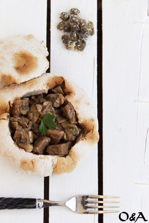 spezzatino di manzo con funghi e capperi
