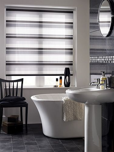 Blending smoky shades of grey with off-white stripes, this 100% waterproof blind is made to last and will be a chic, smart addition to your bathroom.