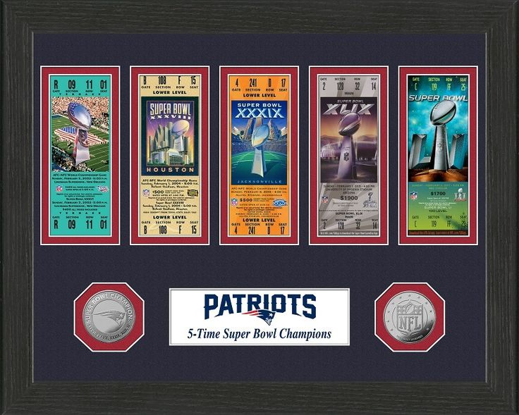 AAA Sports Memorabilia LLC - New England Patriots 5-Time Super Bowl Champions Ticket Collection, $49.99 (http://www.aaasportsmemorabilia.com/highland-mint/framed-ticket-collection/nfl/new-england-patriots-5-time-super-bowl-champions-ticket-collection/)