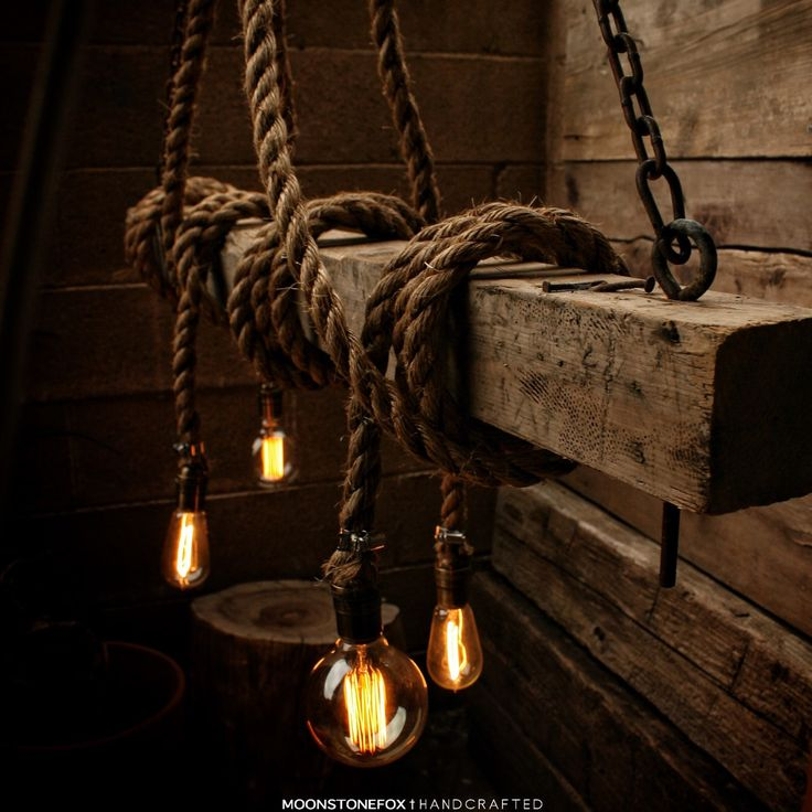 The ahab 4 industrial rope light barn beam pendant for Wood pendant chandelier