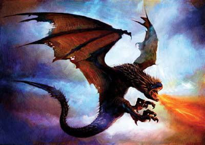 Painted by Jim Salvati, this image of the Horntail Dragon is taken from Harry Potter and The Goblet of Fire, fourth in the series of novels created by JK Rowling.
