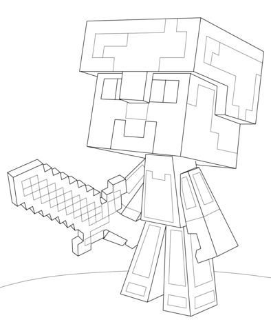 Minecraft Steve Diamond Armor Coloring Page From Category Select 21842 Printable Crafts Of Cartoons Nature Animals Bible And Many More