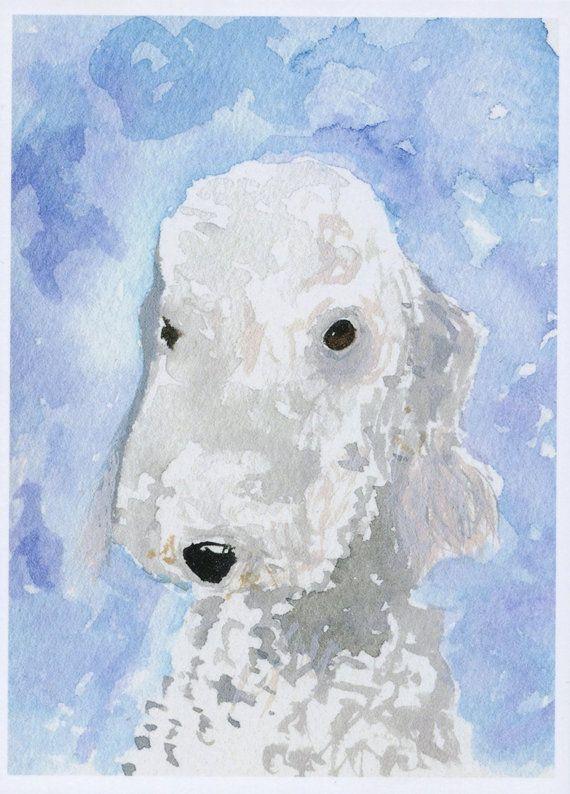 Bedlington Terrier Dog  Satin Art Print by ArchyScottie on Etsy