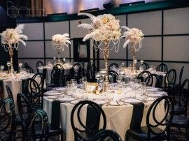 Gatsby style wedding centerpiece feather flowers