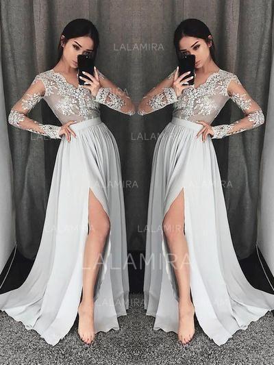 912ff26f9ae8 [US$ 144.00] A-Line/Princess V-neck Sweep Train Prom Dresses With Lace  (018211006)